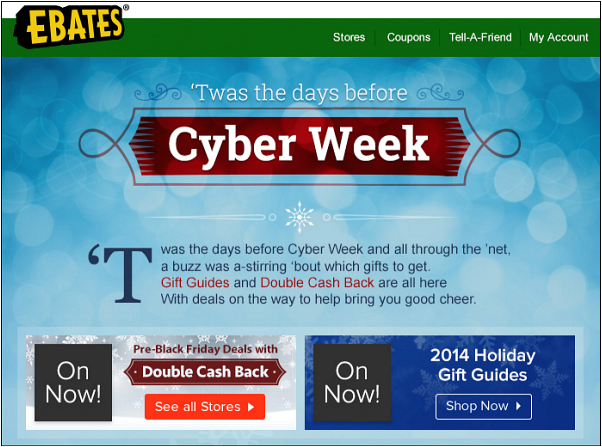Ebates Holiday Email Campaign