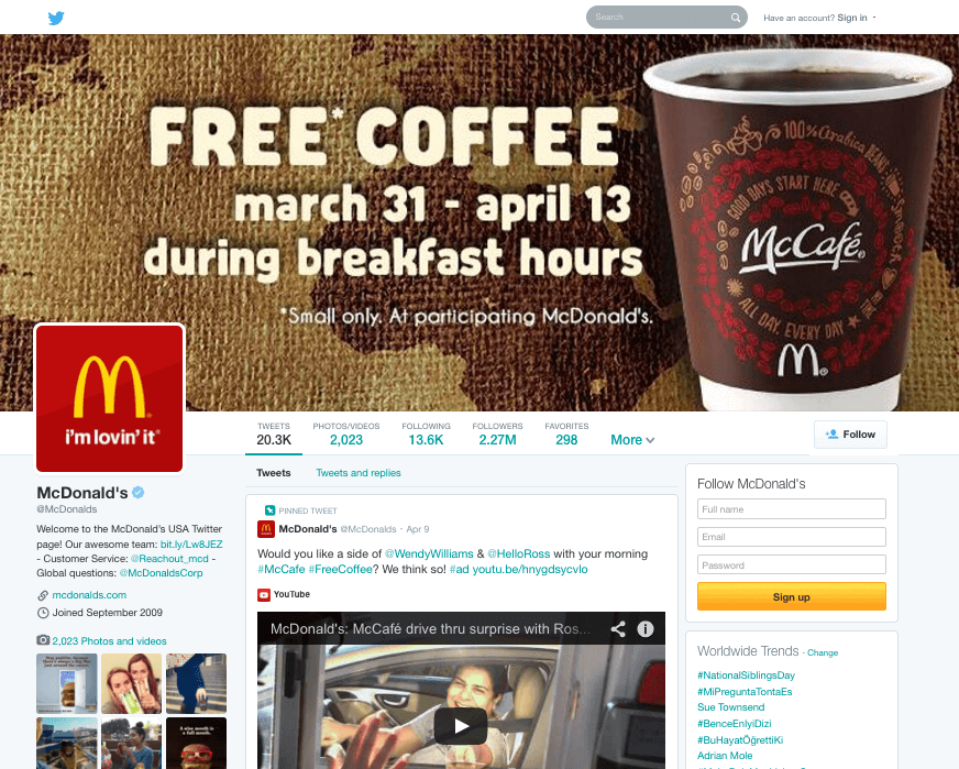 Twitter Feed McDonalds Coffee Promotion
