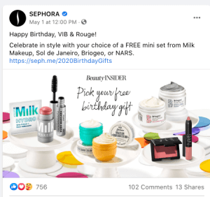 Birthday Facebook Post for Sephora Insiders