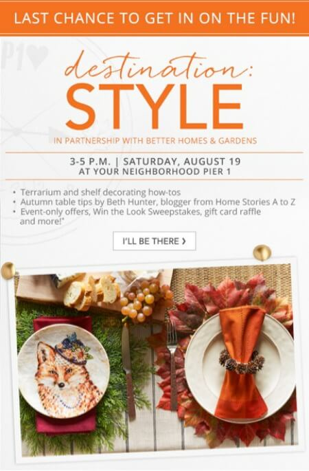 My Pier 1 Imports Member Only Events