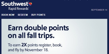 Southwest Rapid Rewards Bonus Point Offer