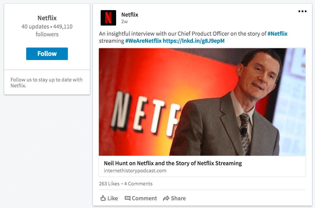 Netflix Company Page on LInkedIn