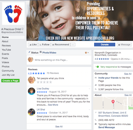 Precious Child Nonprofit Facebook Page
