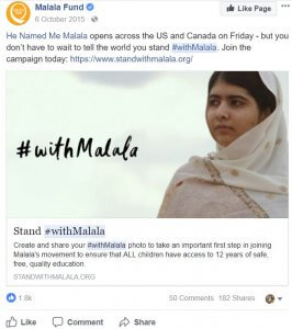Malala Top Facebook Nonprofit