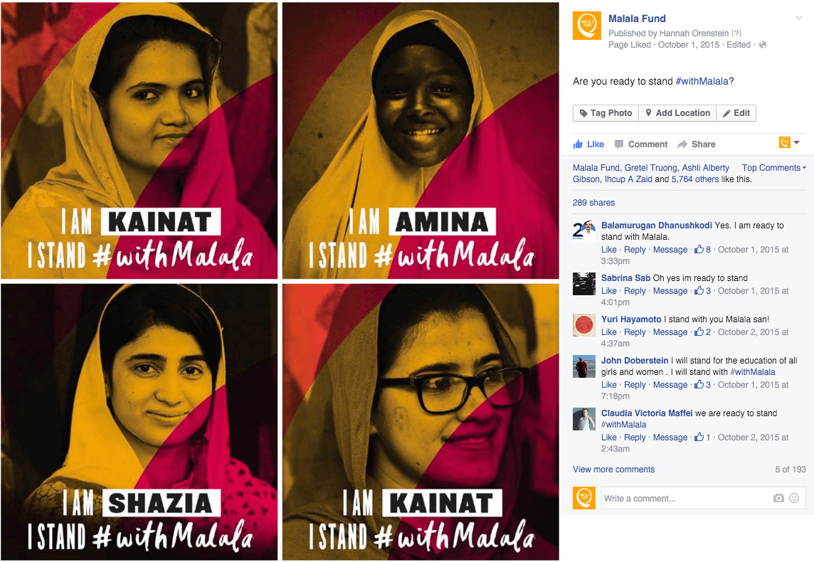 Nonprofit #withMalala Facebook Post