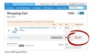 loyalty program points and shopping cart