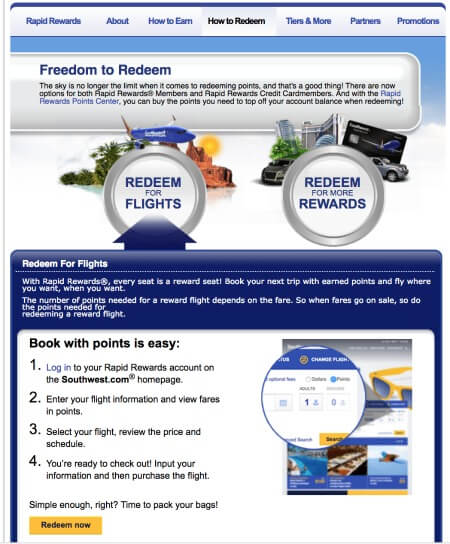 Southwest Airlines Rapid Rewards How to Redeem Points