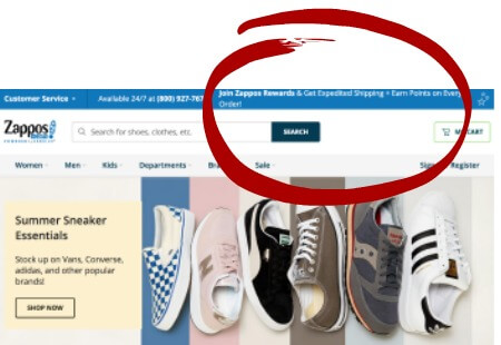 Zappos Rewards Program on Website