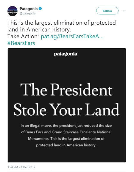 PATAGONIA TO SUE TRUMP PRESIDENT STOLE YOUR LAND