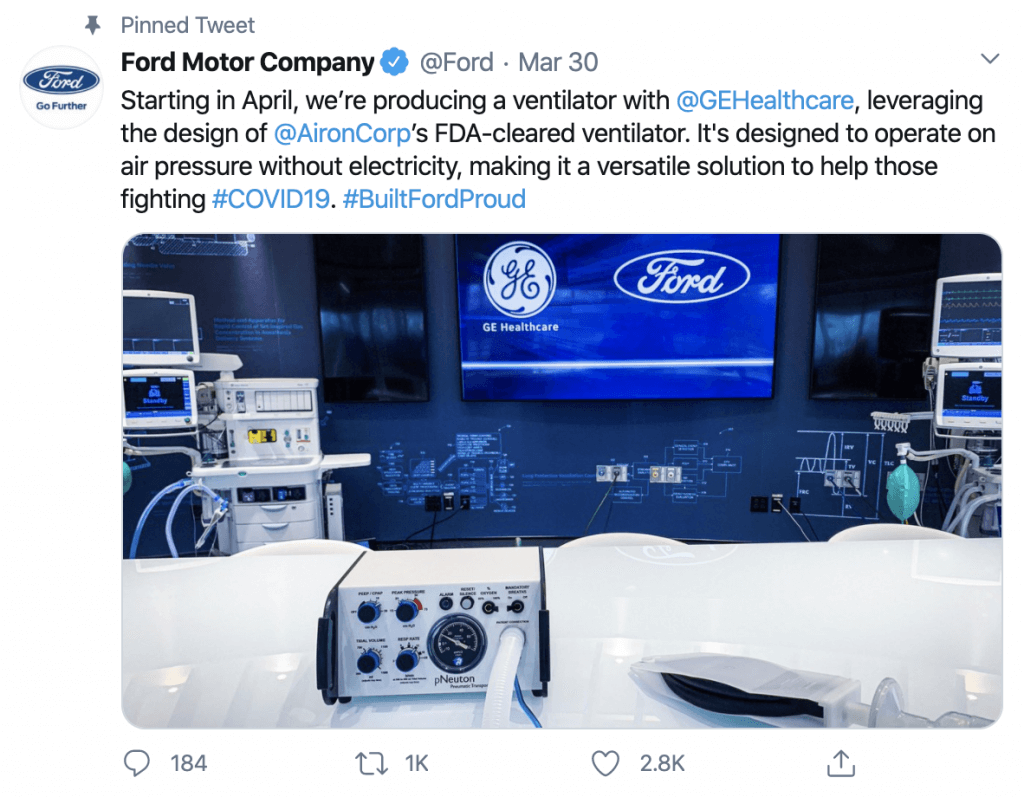 Ford Partners with 3M, GE Healthcare to Make Respirators, Ventilators to Fight Coronavirus