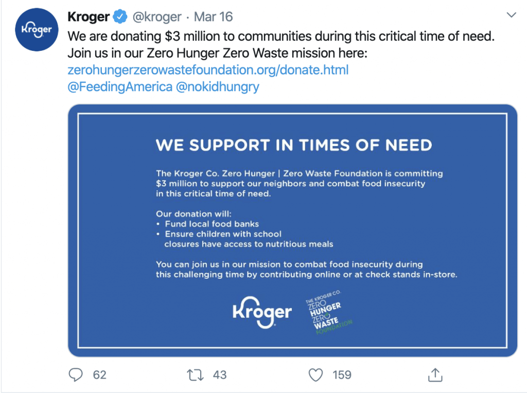 Kroger Co and Coronavirus CSR