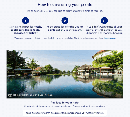 loyalty program explainer page for Expedia